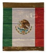 Mexico National Flag On Wood Fleece Blanket