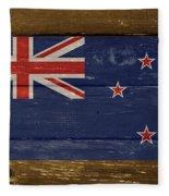 New Zealand National Flag On Wood Fleece Blanket