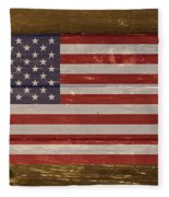 United States Of America National Flag On Wood Fleece Blanket