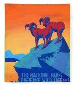 National Parks Wild Life Poster Fleece Blanket