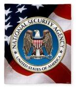 National Security Agency - N S A Emblem Emblem Over American Flag Fleece Blanket