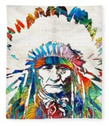 Native American Art - Chief - By Sharon Cummings Fleece Blanket