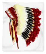 Native American Headdress Fleece Blanket