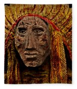 Native American In Wood 1886 Fleece Blanket