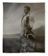 Native American Two Woman Bw Fleece Blanket