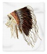 Native American War Bonnet - Plains Indians Fleece Blanket
