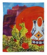 Native American Wedding Vase And Cactus Fleece Blanket