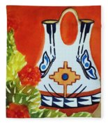 Native American Wedding Vase And Cactus-square Format Fleece Blanket