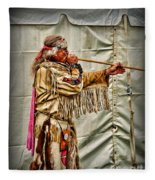 Native American With Blowgun Fleece Blanket