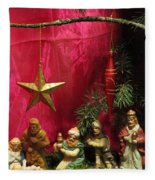 Nativity Scene In Red Fleece Blanket