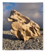 Naturally Sculpted Waterworn Wood On Pebble Beach Fleece Blanket