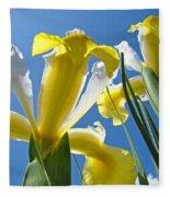 Nature Art Prints Yellow White Irises Flowers Fleece Blanket