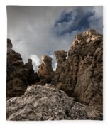 A Stunning Rock Wall Becomes A Wild Nature Sculpture In North Coast Of Minorca Europe Fleece Blanket