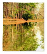 Nature's Green And Gold Fleece Blanket