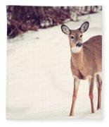 Natures Winter Visit Fleece Blanket