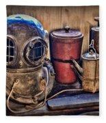 Nautical - Antique Dive Helmet Fleece Blanket