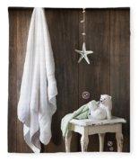 Nautical Bathroom Fleece Blanket