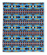 Navajo Blue Pattern Fleece Blanket