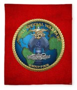 Naval Special Warfare Group Four - N S W G-4 - On Red Fleece Blanket