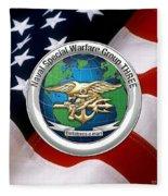 Naval Special Warfare Group Three - N S W G-3 - Over U. S. Flag Fleece Blanket
