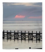 Navarre Beach Sunset Pier 17 Fleece Blanket