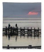Navarre Beach Sunset Pier 18 Fleece Blanket
