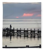 Navarre Beach Sunset Pier 21 Fleece Blanket