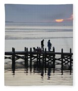 Navarre Beach Sunset Pier 26 Fleece Blanket