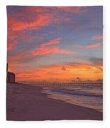Navarre Pier And Navarre Beach Skyline At Twilight Fleece Blanket