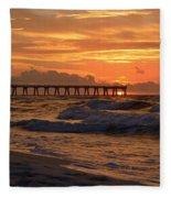 Navarre Pier At Sunrise With Waves Fleece Blanket