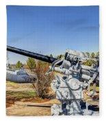 Navel Gun Over Looking Uss Batfish Fleece Blanket