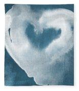 Navy Blue And White Love Fleece Blanket