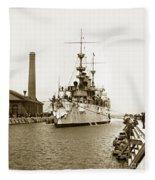 Navy Cruiser Uss New York Going Into Dry Dock San Francisco Circa 1903 Fleece Blanket