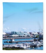Navy Pier Chicago Il Looking Northeast Fleece Blanket