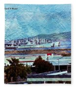 Navy Ships As A Painting Fleece Blanket