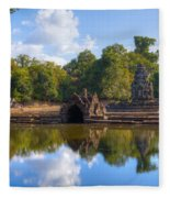 Neak Poan Temple Fleece Blanket