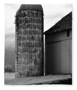Near Infrared Old Michigan Barn With Silos Bw Usa Fleece Blanket