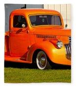 Neat Vintage Chevrolet Truck In Bright Orange Fleece Blanket