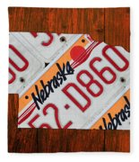 Nebraska License Plate Map Art Fleece Blanket