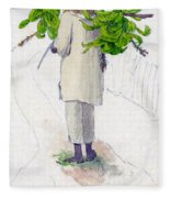 Negro Man Carrying Plantains On Pole Fleece Blanket