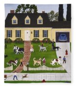 Neighborhood Dog Show Fleece Blanket