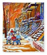 Neighborhood Street Hockey Game Last Call Time For Dinner  Montreal Winter Scene Art Carole Spandau Fleece Blanket