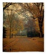 Neighborhood Street In Autumn Fleece Blanket