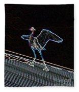 Neon Blue Heron Fleece Blanket
