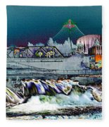 Neon Lights Of Spokane Falls Fleece Blanket