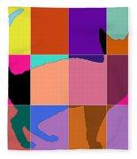 Neon Panels Cat Fleece Blanket
