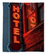 Neon Sign For Hotel In Texas Fleece Blanket