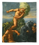Neptune And His Chariot Of Horses Fleece Blanket