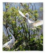 Nesting Great Egrets Fleece Blanket