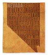 Nevada Word Art State Map On Canvas Fleece Blanket